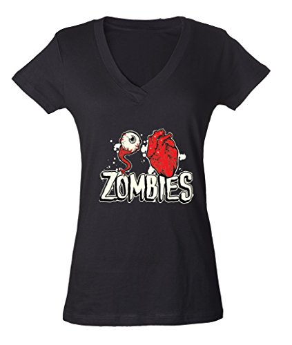 Scary Zombies Eye And Heart Ladies V-Neck T-shirt Funny Halloween Shirts Large Black h10 ()