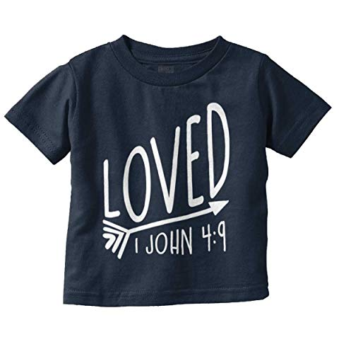 One Christian Toddler Shirt - Brisco Brands Loved Bible Verse Christian New Baby Gift Infant Toddler T Shirt Navy
