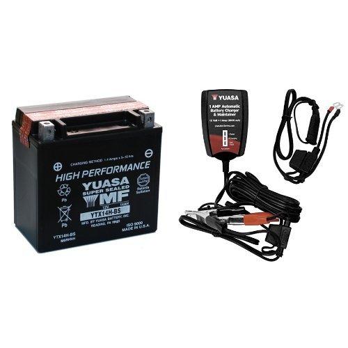 Yuasa YUAM6RH4H YTX14H-BS Battery and Automatic Charger Bundle 12 Amp Automatic Battery Charger