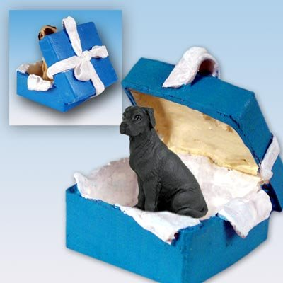 Great Dane Blue Gift Box Dog Ornament - Uncropped Ears - Black