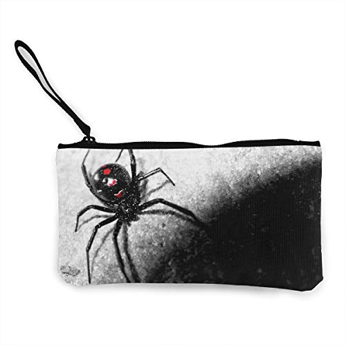 Oomato Canvas Coin Purse Black Spider Cosmetic Makeup Storage Wallet Clutch Purse Pencil Bag ()