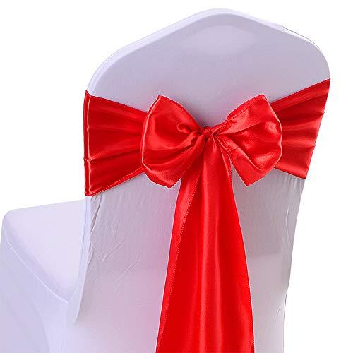 (10PCS 17X275CM Satin Chair Bow Sash Wedding Reception Banquet Decoration #14 Red)