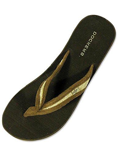 Dockers - Ladies Wedge Flip Flop Sandal, Brown, Natural 24614-8B(M) US
