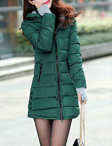 Coat Green Slim Warm Long for Casual Winter Coat BESBOMIG Fit Cotton Hooded Overcoat Women's Jacket Autumn Dark qaxFwzU