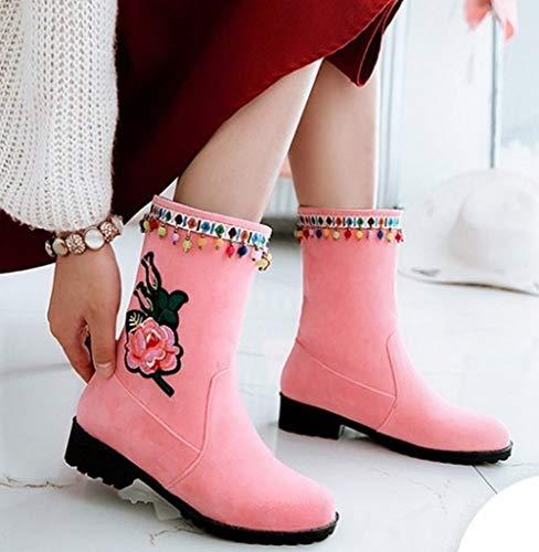 Pink Short Boots Carolbar Appliques Women's Low Heel qYI8zaw