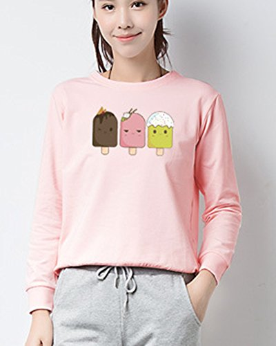 Mujer Basica Sweatshirt Pullover Camisetas De Manga Larga Camisa Sudaderas Estampadas Tops Pink