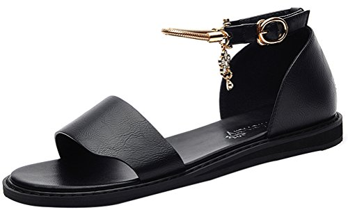 T&Mates Womens Summer Beautiful Open Toe Rhinestone Buckle Ankle Strap Flat Sandal Shoes (6 B(M)US,Black)