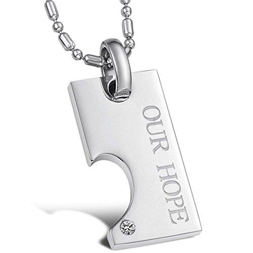 Infinite U Acier Inoxydable Pendentif Collier Classique Puzzle d'Amour Blanc pour Amoureux/Couple Une Paire (Avec Sac Cadeau)