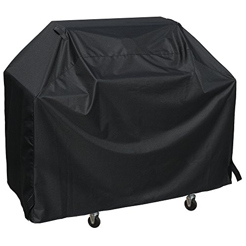 SunPatio BBQ Grill Cover 65 Inch, Outdoor Heavy Duty Waterproof Barbecue Gas Grill Cover, UV and Fade Resistant, All Weather Protection for Weber Char-Broil Nexgrill Grills and More, Black