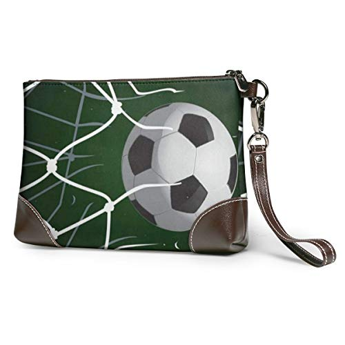 Women's Leather Zipper Wristlet Soccer Olive Cellphone Card Wallets Clutch Holder Purse