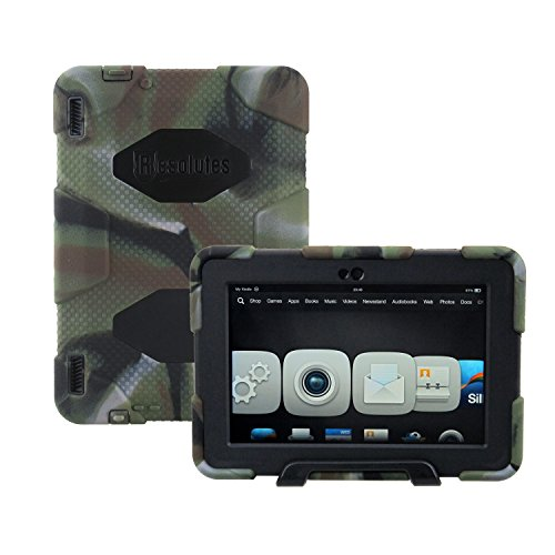 Winpartner Kindle Fire HDX 7 2013 Case - Heavy Duty Tough Armor Military Case Impact Resistant Bumper with Stand and Screen Cover Kid Proof Drop-proof Shockproof Dustproof Rainproof (Camo Green/black)