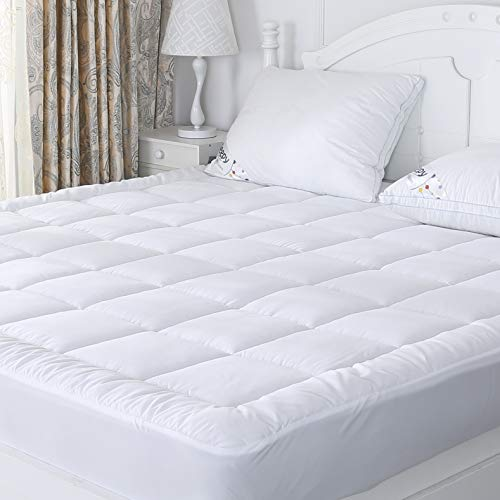Full Mattress Pad Quilted Plush Down Alternative Pillow Top Mattress Cover with Deep Pocket Stretches, Hotel Quality, Hypoallergenic