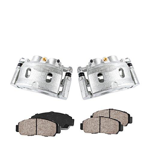 COEK00668 [2] FRONT Premium Loaded OE Caliper Assembly Set + Quiet Low Dust Ceramic Brake Pads