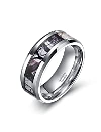 6mm 8mm Camouflage Tungsten Ring for Men Women Winter Branch Hunting Camo Wedding Band Size 5-13