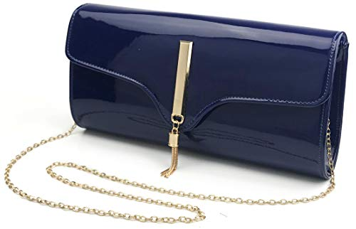 - Tassel Women's Glossy Evening Clutch With Chain Strap Wedding Cocktail Party Concert Purse (Navy)