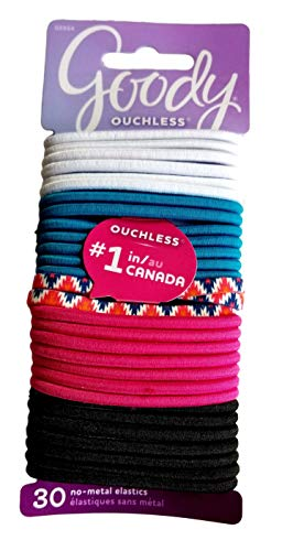 Goody Ouchless Women's Braided Elastic Thick, Spring IKat, 307 Count, 4MM for Medium Hair