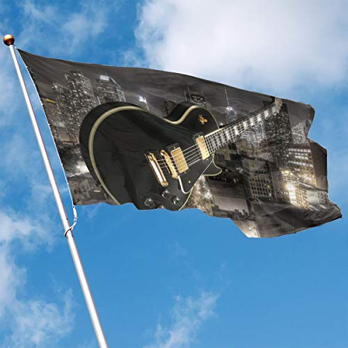 DENETRI DYERHOWARD Fly Breeze 3 X 5 Foot Flag Musical Guitar City Vivid Color and UV Fade Resistant Canvas Header and Double Stitched Garden Flags -