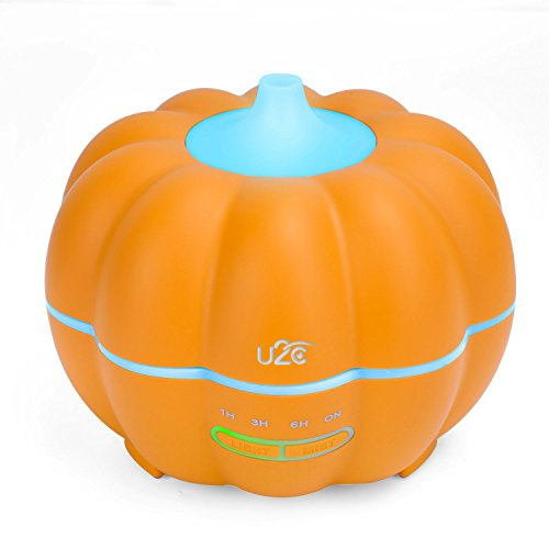 Essential Oil Diffuser, U2C Pumpkin Shape Ultrasonic Aromatherapy Diffuser, 7 Color LED Lighting Adjustable Cool Mist Humidifier for Halloween, Children, Home, Yoga, Office (Normal)]()