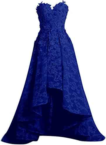 7e432ab8ab5 SUNFURA Women s Lace Sweetheart High Low Prom Evening Dress with Appliques