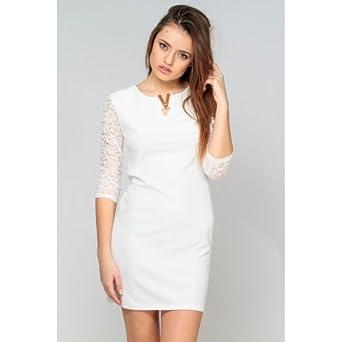 bester Großhändler Geschäft Laufschuhe Weißes Kleid Ärmel mit Spitze Gr. one size, Weiß - weiß ...