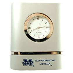 LXG Michigan Wolverines Brushed Silver Desk Clock
