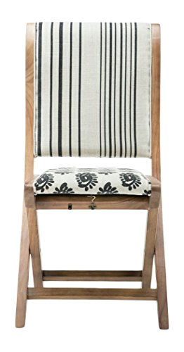 Boraam 85005 Misty Folding Dining Chair, black, Beige, & Natural, Pattern (Natural Wood Folding Chair)