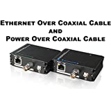USG EoC (Ethernet Over Coax) & PoC (Power Over Coax) Adapter Converter Device Pair : BNC & RJ45 Jacks : Send Ethernet and PoE Power Signal 300ft Over Coaxial Cable