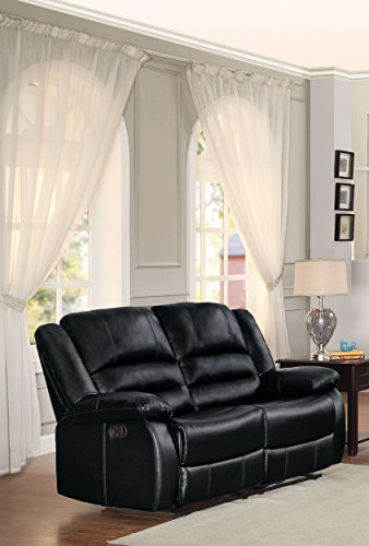 Homelegance Jarita Double Reclining Loveseat Bi-Cast Vinyl Cover, Black