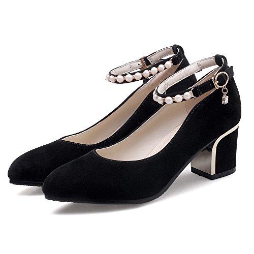 VogueZone009 Femme Dépolissement à Talon Correct Pointu Couleur Unie Boucle Chaussures Légeres Noir PM7D3R7db7