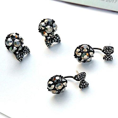 Sweet Stud Earrings Back U Clips Bow Knot All Black Crystal Dangle for Girls Women