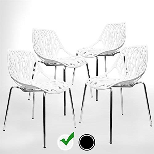Modern Dining Chairs (Set of 4) by UrbanMod, White Chairs, Kid-Friendly Birch Chairs, Stackable Modern Chair, Mid Century Dining Chair (Black Dining Room Table With White Chairs)