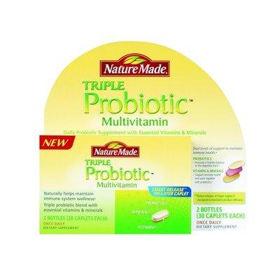 Nature Made Triple probiotique multivitamines - 2 Bouteilles 30 Caplets Chaque - 60 Total des Caplets