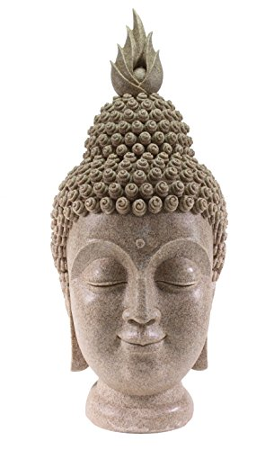 Smiling Meditating Buddha Shakyamuni Head Statue Large 15
