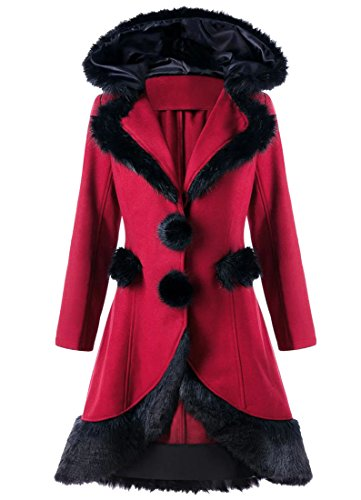 WSPLYSPJY Women Casual Faux Fur Swing Wool Coat Wine Red - Coat Breasted Fur Single