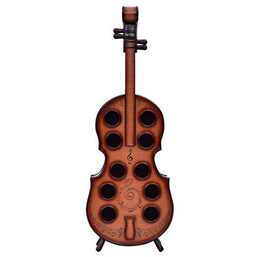 Wine Rack Violin Cello 10 Bottles Holder 16th Century Liquor Shelf Wood