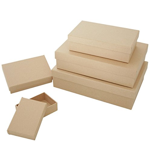 Art Alternatives MVPM06201 Paper-Mache Square Box Set 5//Pkg