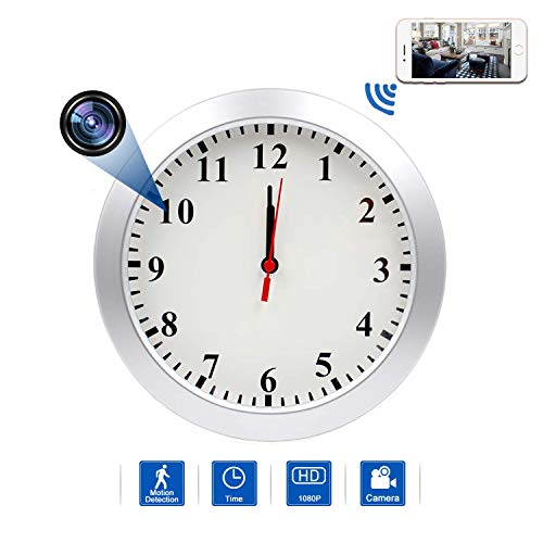 Hidden Camera Wall Clock WIFI Spy Camera, NANIBO 1080P Nanny Cam DVR with Motion Detection,Real-Time Covert Clock Security Camera Monitor for Home and Office, without Night Vision