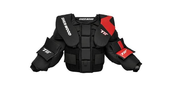 New Sherwood T90 Goalie Chest Protector Size Jr Large Junior Arm Ice