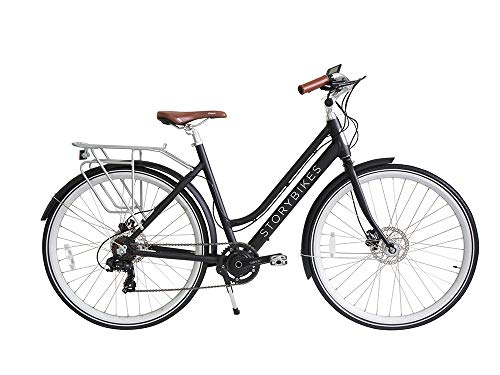 Story Electric Bike – Step-Through Design eBike, Smart 350W Electronic Motor, Hidden Lithium Battery, USB Port to Charge Phone, Shimano Single or 7 Speed, Disc Brakes, 700c Unisex Electric Bicycle