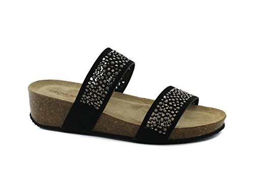 Grunland ANIN CB1480 Black Sandals Women's Slippers Wedge Heel Rhinestone Leather Nero u4iyV