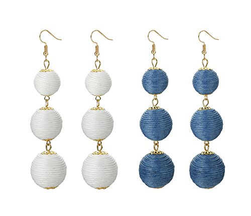 FINREZIO 2 Pairs Ball Dangle Tassel Earring for Women Girls Soiree Thread Drop Earrings Boho(D:White and Blue Ball) ()