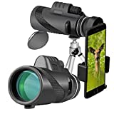 ZDYLL 40X60 High Power Prism Monocular Telescope and Quick Smartphone Holder - Waterproof Fog- Proof Shockproof Scope -BAK4 Prism FMC (Black)