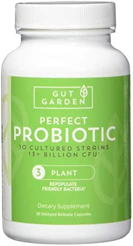 Gut Garden Perfect Probiotic - 10 Cultured Strains, 13 Billion CFU Per Serving Delayed Release Capsules for Optimal Gut Health, Digestive and Immune Function
