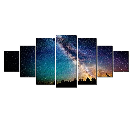 Startonight Huge Canvas Wall Art Sky Full Of Stars, USA Large Home Decor, Dual View Surprise Artwork Modern Framed Wall Art Set of 7 Panels Total 39.37 x 94.49 inch by Startonight