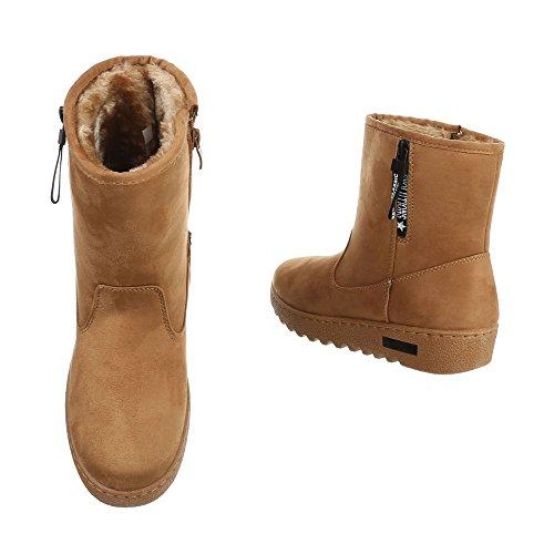 Damen Winter Stiefeletten | Winterstiefel gefüttert | Dick gefütterte Schneestiefel | Kunst Fell Winter Boots | Kunst Fell Stiefel | Sneaker Winterstiefel | warme Stiefel | Kunst Fell Boots Camel