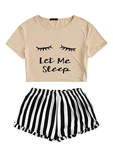 WDIRARA Women's Sleepwear Closed Eyes Print Tee and Shorts Pajama Set Apricot XS