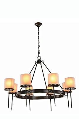 """Elegant Lighting 1504G45BZ Bradford Collection Pendant Lamp D45"""" H34"""" 8-Light"""