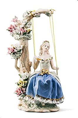 Lady in Blue On Swing Pretty Woman Beauty Porcelain Figurine Statuette Figure Collectibles