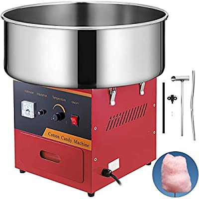 VBENLEM Electric Candy Floss Maker 20.5 Inch Cotton Candy Machine Red Cotton Candy Maker Commercial 1030W For Various Parties