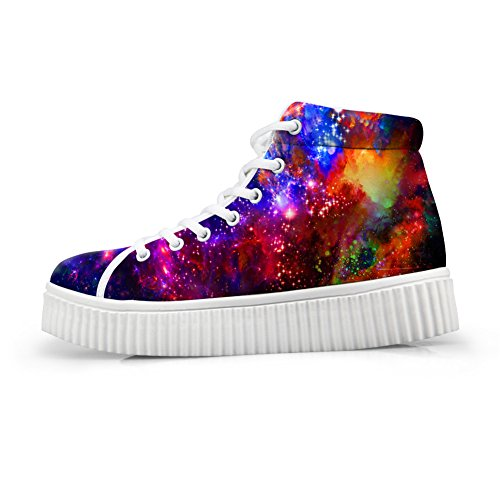 Bigcardesigns Classical Galaxy Design High Top Casual Zapatillas Lace Up Flat Zapatos Unisex Style4